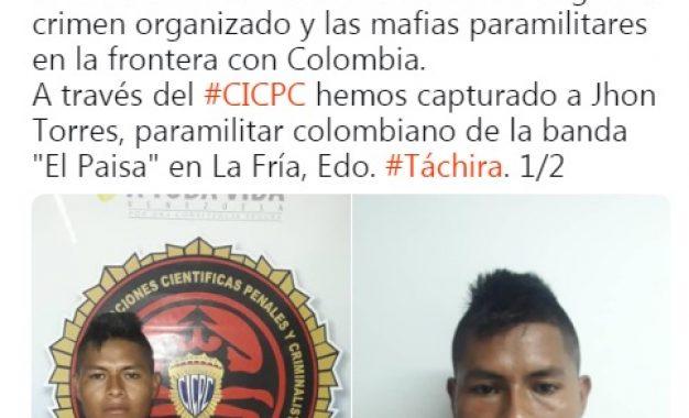 Capturan en La Fría a otro integrante del grupo paramilitar El Paisa
