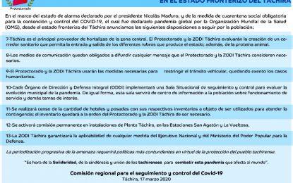 Medidas para contener la propagación del Covid-19 en el estado Táchira
