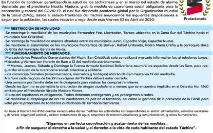 Gobierno Bolivariano aprueba nuevas medidas para contener el Covid-19 en Táchira
